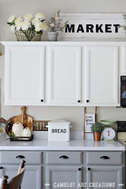 Camelot Art Creations 5 Tips To Creating A Farmhouse Kitchen Decorating Above Kitchen Cabinets Kitchen Cabinets Decor Above Kitchen Cabinets