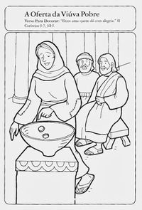 Historia Biblica Uma Viuva Da A Sua Oferta Com Imagens