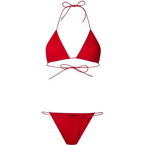 b875a6de8d8a2 Danielle Guizio triangle top bikini set (£130) ❤ liked on Polyvore  featuring swimwear