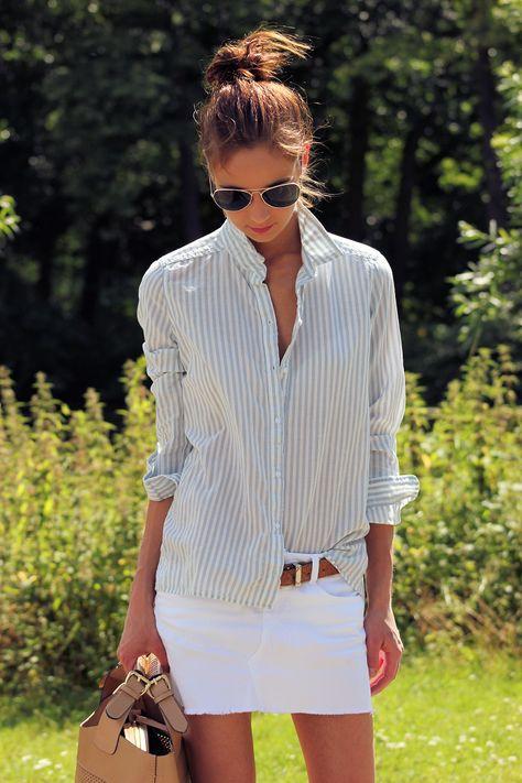 white shirt and cognac belt