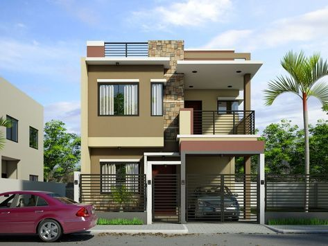 Simple 2 Storey House Design With Rooftop In 2019 House