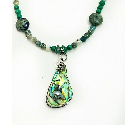 Abalone Shell Pendant Green Agate Gemstones Beads Turquoise Necklace Earring Set