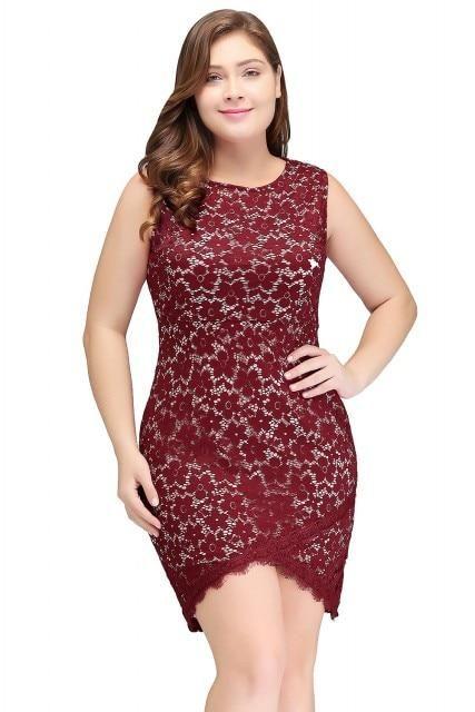 8935ee8c1ec1c Short Lace Cocktail Dress – Curvy Fashion Queen   Plus Size Formal ...