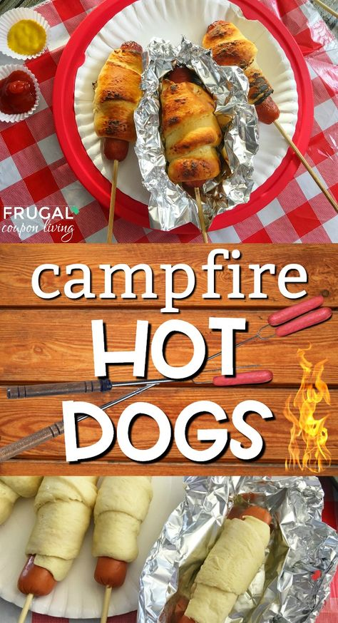 Camping Meals Ideas that Kids Love - Campfire Hot Dogs Recipe wrapped in Pillsbury Crescent Rolls, serve with hot dog sides - ketchup, mustard, and more! Crescent Rolls, Camping Menu, Camping Hacks, Backyard Camping, Camping Essentials, Family Camping, Camping Dinner Ideas, Camping Supplies, Camping Survival