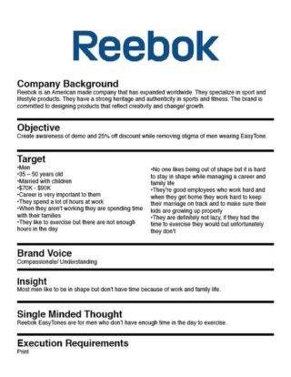 Reebok Marketing Brief Example Creative Brief Template
