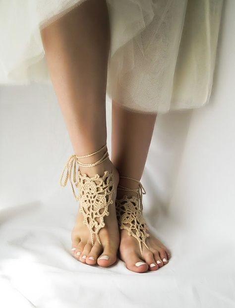 Crochet Barefoot Sandals Boho Foot Jewelry Bottomless Sandals