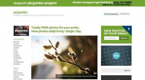 Sammlung von Webseiten für Hochwertige und kostenfreie Bilder – Picjumbo. (Screenshot: picjumbo.com)