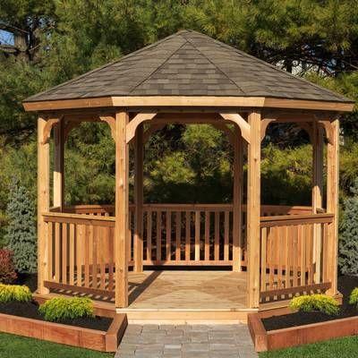 12 Ft W X 12 Ft D Solid Wood Patio Gazebo Garden Gazebo Patio