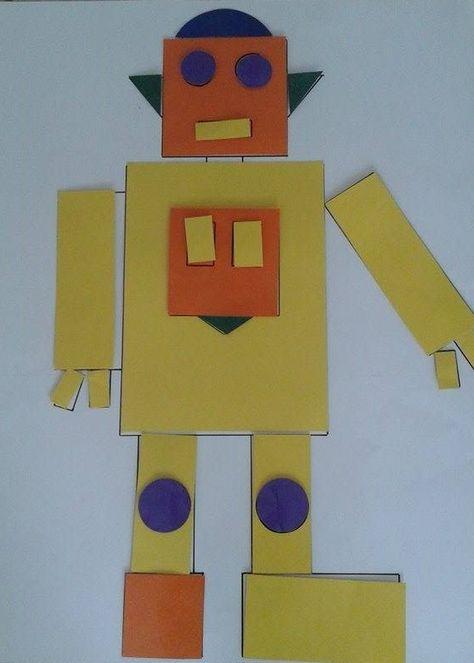 Robot gemaakt voor een les over vlakke figuren in het tweede leerjaar. De figuren zijn bevestigd op geplastificeerd wit papier met velcro. Enthousiaste leerlingen gegarandeerd!