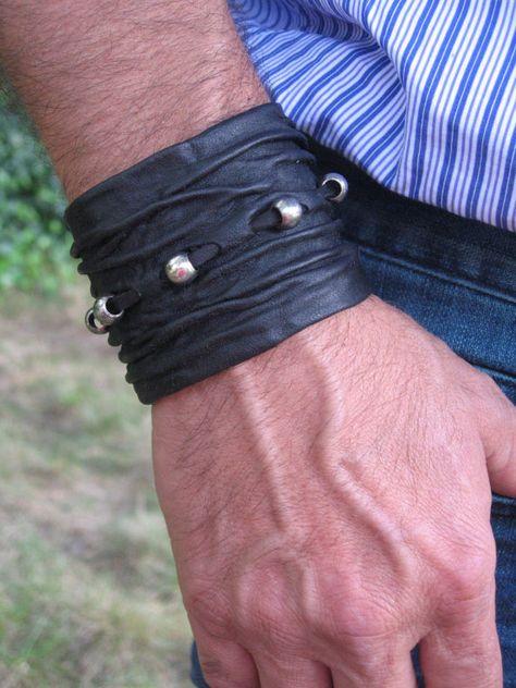 Crushed  Black  Leather Wristband Cuff Bracelet Mens Ladies Leather Goth Rock Clothing via Etsy