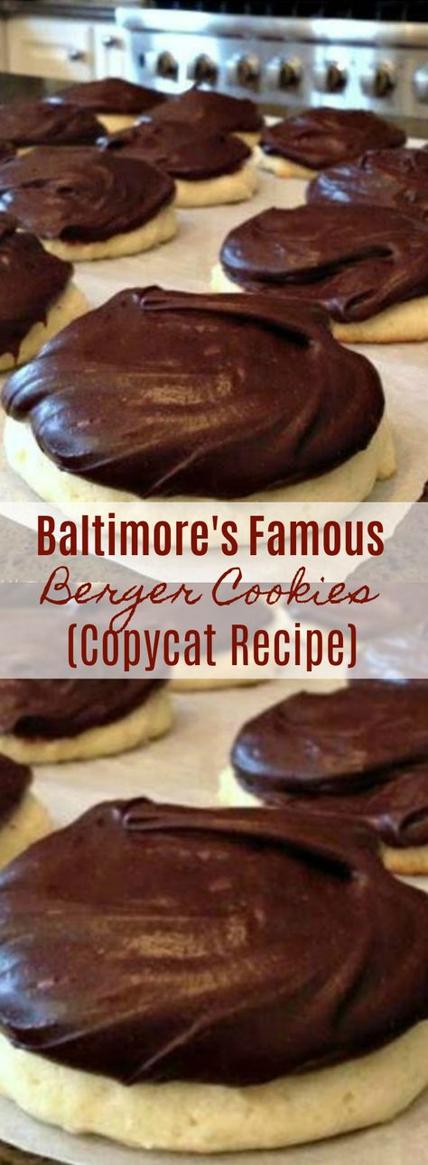 Today's tried & true recipe – Copycat Berger Cookies! COPYCAT BERGER COOKIE RECIPE Baltimore's famous cookie! Cakey cookie topped with a thick layer of chocolate-fudgy frosting. Berger Cookie Recipe, Berger Cookies, Cookie Desserts, Just Desserts, Delicious Desserts, Cookie Favors, Holiday Desserts, Holiday Recipes, Baltimore