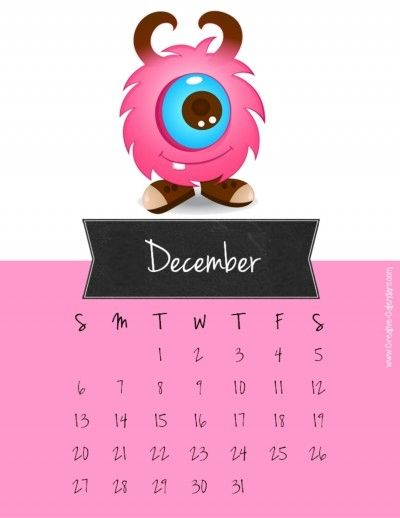 printable calendar in pink with a chalkboard label for the month