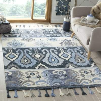 Niederanven Hand Knotted Wool Blue Area Rug Pattern Blue Ikat Colorful Rugs Blue Area Rugs Suzani