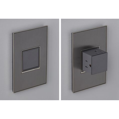 Magnesium Pop Out 1 Gang Outlet Legrand Adorne Outlets Dimmers & Controls Lighting Accesso Modern Light Switches, Light Switches And Sockets, Designer Light Switches, Pop Up Outlets, Wall Outlets, Kitchen Outlets, Electrical Outlets, Outdoor Electrical Outlet, Electrical Outlet Covers