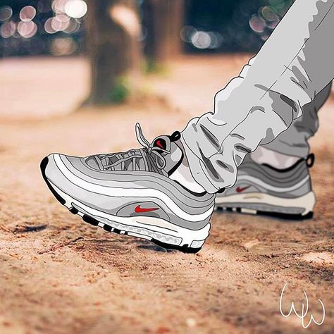 lowest price 90a22 918c5 Draw by  whoswinner 🙏🏼✌🏼 . . . Credit 📸    anthonysuz  sneakers AirMax  97 Silver Bullet