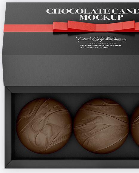 Download Gift Box With Chocolates Mockup In Box Mockups On Yellow Images Object Mockups Gift Box Chocolate Box Mockup