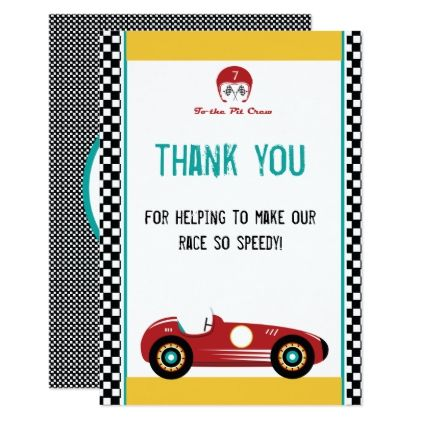 Car Racing Speedway Party Thank You Card Invitations Custom Unique Diy Personalize Occasions Thank You Cards Thank You Card Template Cards