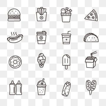 Fast Food Icons Set Line Style Of Fast Food Icons Food Vector Hot Dog Png And Vector With Transparent Background For Free Download Food Icons Icon Set Coffee Vector