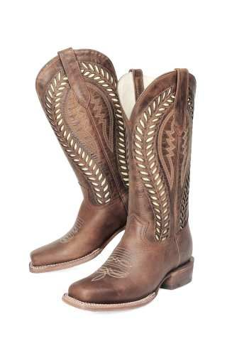 fd8f90f8fd9 Women's Brown Square Toe with White Inlay. JB Dillon Reserve style ...