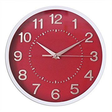 Decor Silent Wall Clocks 10 3d Numbers Red Dial Non Ticking Decorative Wall Clock Battery Operated Round Easy To Read For Hom Red Clock Clock Wall Decor Clock