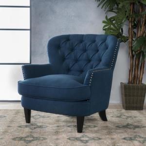 Noble House Tafton Dark Blue Fabric Tufted Club Chair 10761 The Home Depot Tufted Club Chairs Club Chairs Blue Accent Chairs