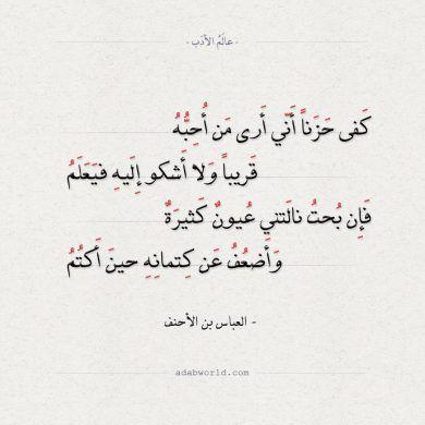 شعر العباس بن الأحنف كفى حزنا أني أرى من أحبه عالم الأدب Math Math Equations Arabic Calligraphy