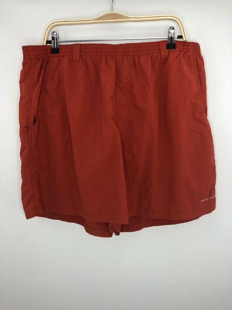 Columbia PFG Omni Shade Mens Red/Orange Mesh Lined Nylon Elastic Waist Shorts XL #fashion #clothing #shoes #accessories #mensclothing #swimwear (ebay link)