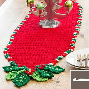 Holly Trim Table Runner Holiday Crochet Christmas Table Runner Pattern Christmas Crochet