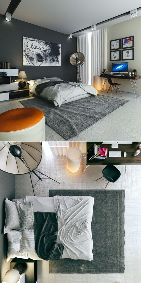 Bedroom Ideas:Masculine Bedroom Design With Orange Chair And Abstract Paint Delightful Bedrooms for  All Day Relaxing