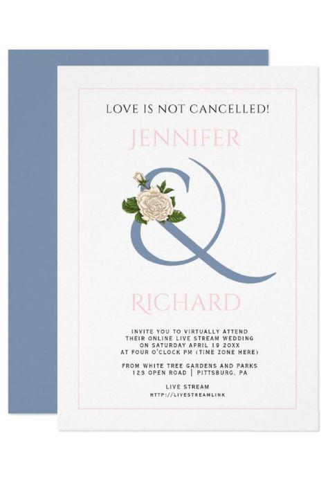 Dusty blue and pink ampersand rose virtual wedding invitation. #invitation #virtualwedding #dustyblue #blushpink #wedding #ampersand