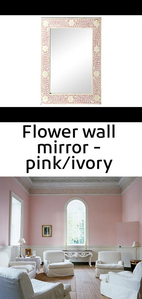 Flower wall mirror - pink/ivory