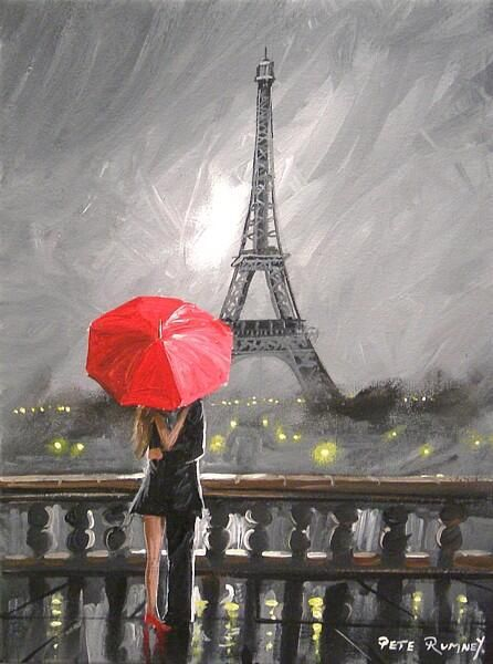 Oil Painting, Paris. european city landscape. France, Wallpaper, eiffel tower. Black, white and pink, Modern art Vinyl Wall Mural – Travel – BuzzTMZ