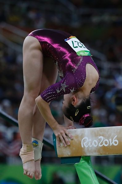 #RIO2016 China's Wang Yan competes in the Beam event during the women's team final Artistic Gymnastics at the Olympic Arena during the Rio 2016 Olympic Games...