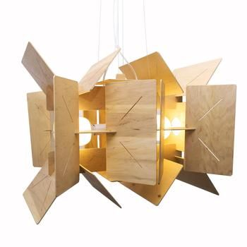 Looks like a space satellite, this wooden hanging lamp is