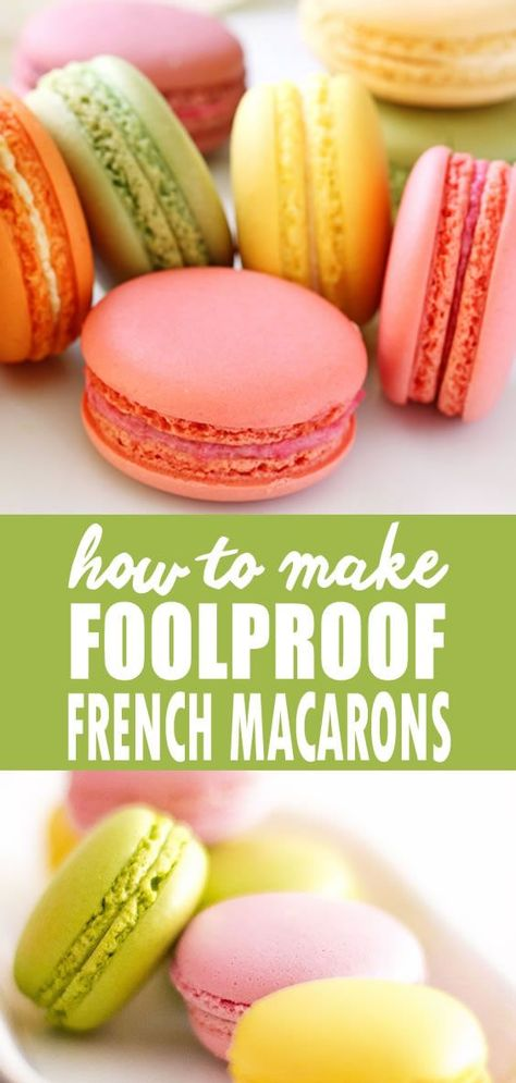 Recipe: Foolproof French Macarons Watch this video for tips and tricks for making foolproof French Macarons. French Macarons are light, airy and delicate meringue sandwich cookies baked in an infinite array of flavors and fillings. Ganache Macaron, Macaron Caramel, Macaron Pistache, French Macaroon Recipes, French Macaroons, French Macaron Flavors, Italian Macarons, Red Velvet Macaroons, Macaroon Filling
