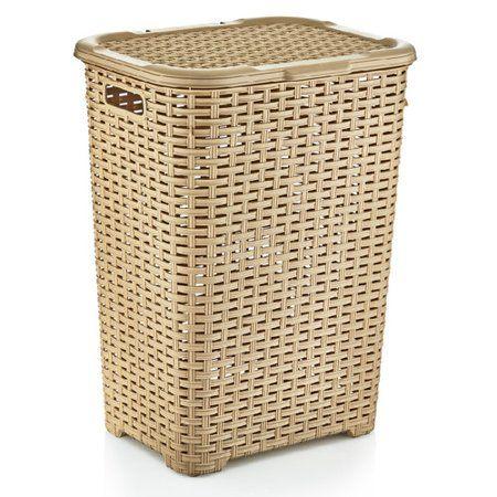 High Caliber Plastic Laundry Hamper Large Size Holds Plenty Of Laundry Decorative Basket Weave Design Wicker Styl Laundry Hamper Wicker Laundry Hamper Hamper