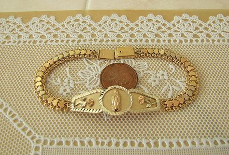 Solid Virgin Mary 14k Gold Bracelet 7 5 Inches 3 By Swantreasures Gold Bracelet 14k Gold Bracelet Baby Bracelet Gold