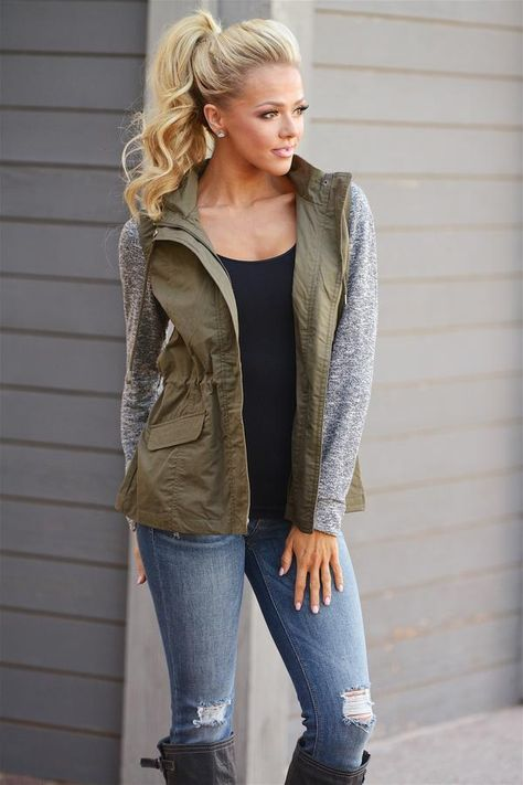 When I'm With You Hooded Jacket - cute olive contrast zip up jacket with hood, fall outfit, Closet Candy Boutique