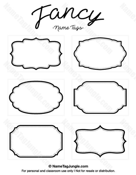 Free printable fancy name tags. The template can also be used for creating items like labels and place cards. Download the PDF at http://nametagjungle.com/name-tag/fancy/