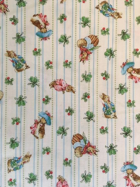 Dollhouse Miniature Pink Beatrix Potter Peter Rabbit Wallpaper 1:12 Nursery Blue