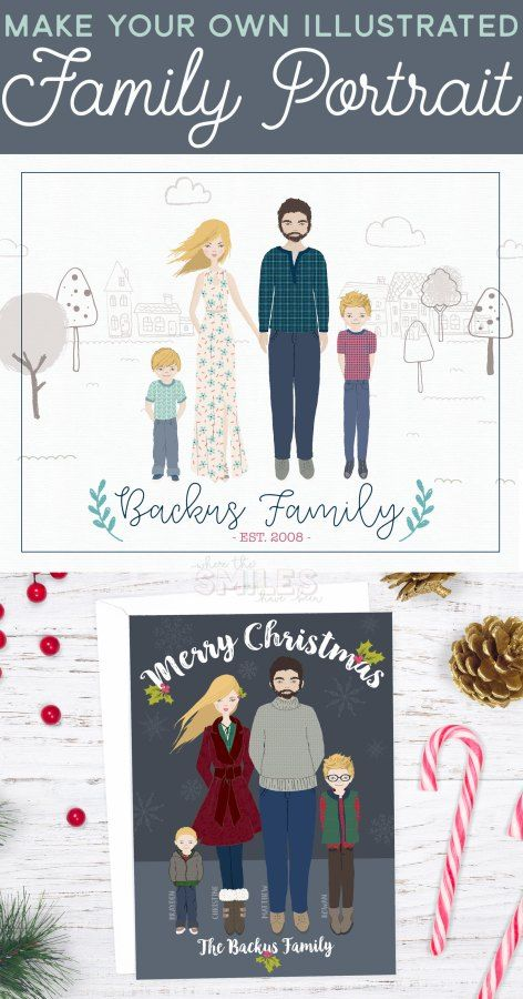 Make Your Own Illustrated Family Portrait No Drawing Skills Required Illustrated Family Portrait Family Illustration Family Drawing