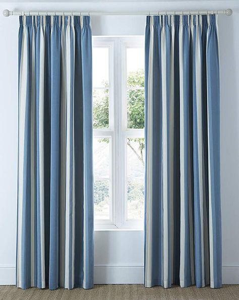 """1 Pair TWILIGHT Stripe Design Block Out 3/"""" Pencil Pleat Thermal Lined Curtains"""