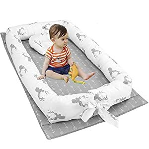 Mories Baby Bassinet for Bed Gray Newborn Portable Crib for Bedroom//Travel Super Soft and Breathable Newborn Infant Bassinet