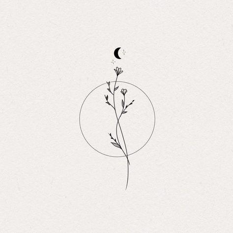 Moon Flow Sticker by Kalunae - White Background - Mini Tattoos, Cute Tiny Tattoos, Line Art Tattoos, Dainty Tattoos, Little Tattoos, Small Tattoos, Tatoos, Tiny Flower Tattoos, Earthy Tattoos