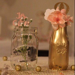 Rustic Centerpiece Baby Shower Decor Party Decor Painted Etsy Milk Bottle Centerpiece Bottle Centerpieces Gold Baby Shower Decorations