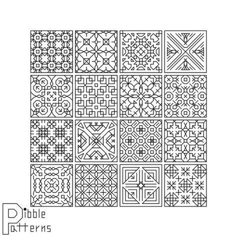 Blackwork Sampler 1 - Modern Cross Stitch Pattern PDF File - Instant Download