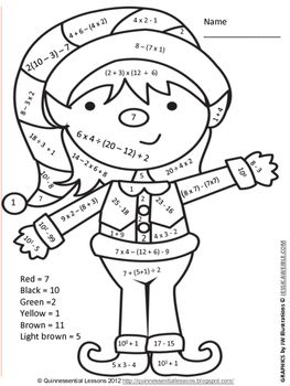 Holiday Color By Numbers Numerical Expressions Holiday Math Worksheets Christmas Math Worksheets Math Expressions