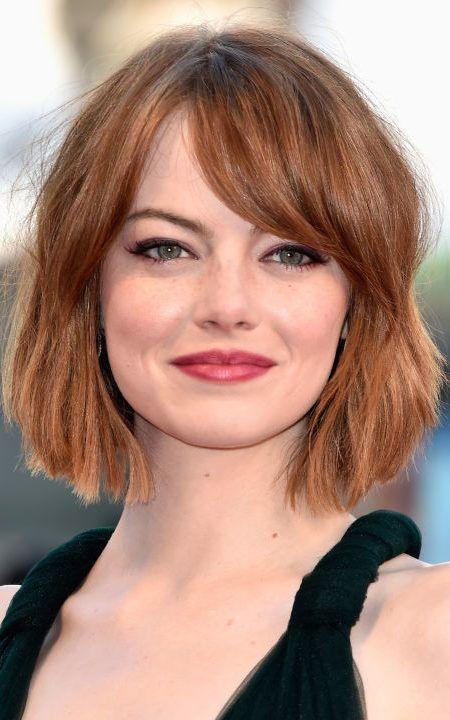 Emma Stone Auburn Haarfarbe Bob Frisur Haarfarben Abgehackte Frisuren