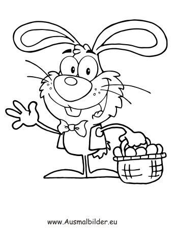 Osterhase Mit Einem Osterkorb Zum Ausmalen Ausmalbilder Malvorlagen Ostern Os Coloring Pages Free Printable Coloring Pages Free Printable Coloring