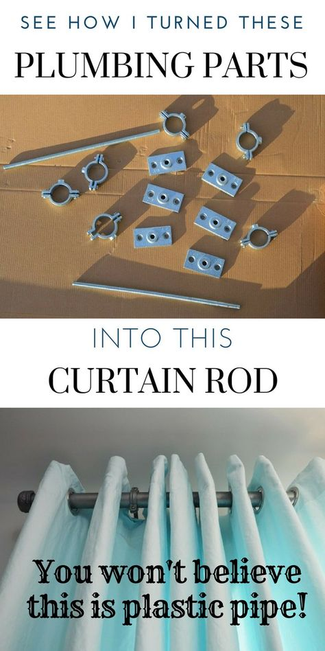 Make this industrial curtain rod with brackets and finials from hardware store supplies